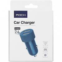 Автомобильное зарядное устройство 2 USB Port 2,4A ROCK, RCC0114, Blue