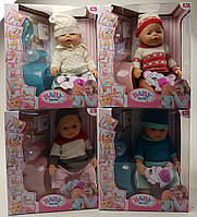 "Пупс функц. Baby Birth ""BB"" 8006-EFML 4 вида, 9 функцій в кор. 33*18*38 см"