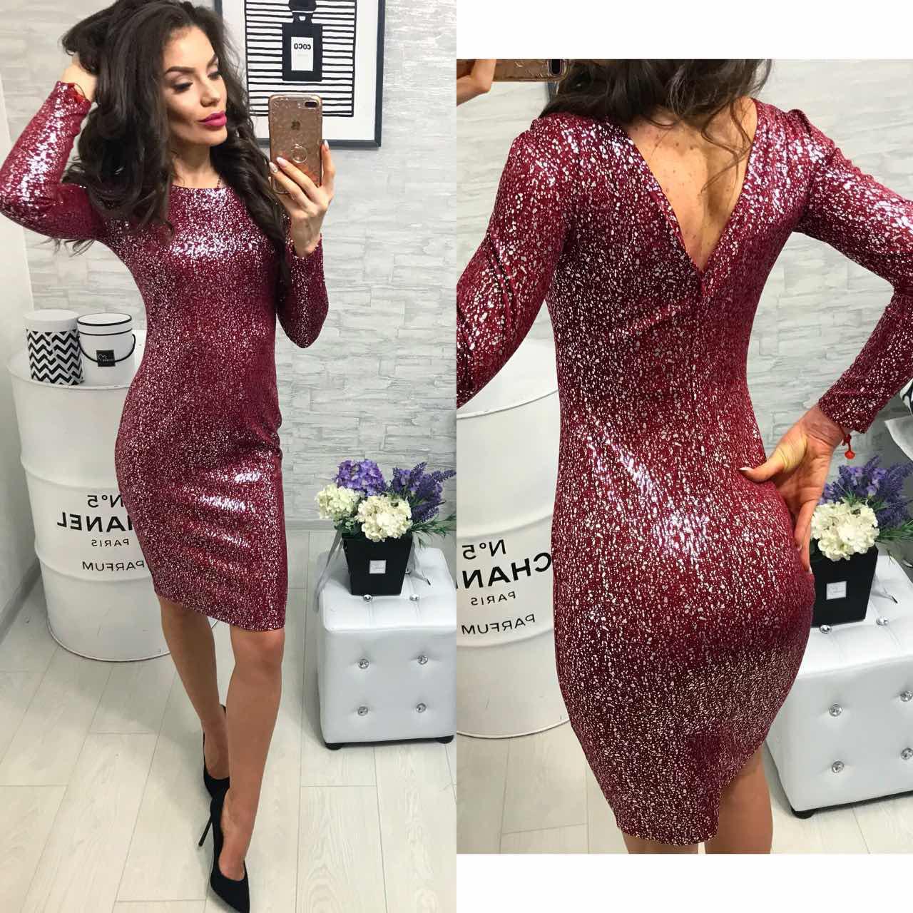 Платье вечернее, модель 801, цвет - марсала серебро, 42, 44 размеры