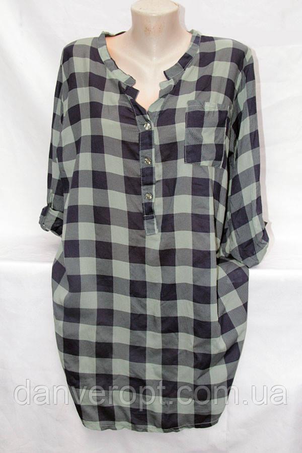 Рубашка-туника женская молодёжная в клетку размер универсальный 52-56 купить оптом со склада 7км Одесса