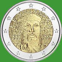 Финляндия 2 евро 2013 г. 125 лет со дня рождения Ф.Э.Силланпяя . UNC