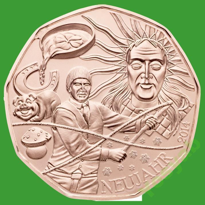 Австрия 5 евро 2013 г. Новый год 2014 , UNC.