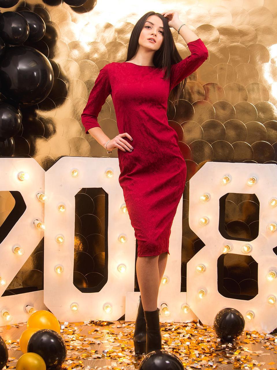2a258348b35a Платье миди из жаккардовой ткани - Интернет магазин производитель женской  одежды ТМ Леннели в Хмельницком