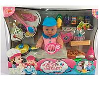 Пупс 32 см,звук, продукты,бутылочка,соска,посуда.Детская игрушка кукла.Детская кукла игрушечная.