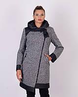 Асимметричное полупальто с кожаными вставками 48-56р черный, твидовый