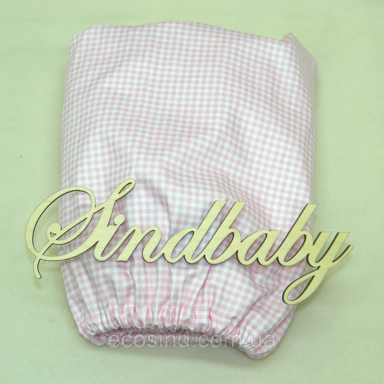 Круглая простынь из сатина на резинке в детскую кроватку, 72х72 см -02