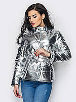 Романтическая женская демисезонная куртка с поясом бантом серебро 90282