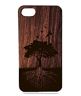 """Дерев'яний чохол  Wooden Cases для Apple iPhone 8 plus з лазерним гравіюванням """"Дерево"""" Красное Дерево"""