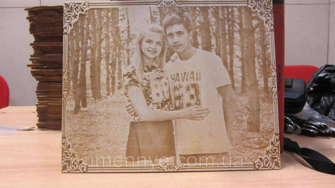 Выжигание портрета в рамке по фотографии подарок любимой девушке