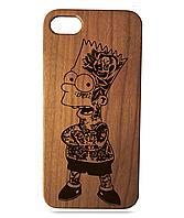 """Дерев'яний чохол  Wooden Cases для Apple iPhone 8 plus з лазерним гравіюванням """"Bart Simpson"""" Вишня"""
