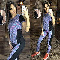 Костюм женский модный для фитнеса футболка и лосины лайкра разные расцветки Ff43