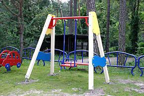 Детские качели одинарные на деревянных стойках , фото 3
