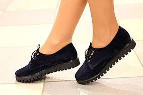 Замшевые туфли криперы на шнурках