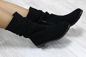 Демисезонные полусапожки натуральная замша черные