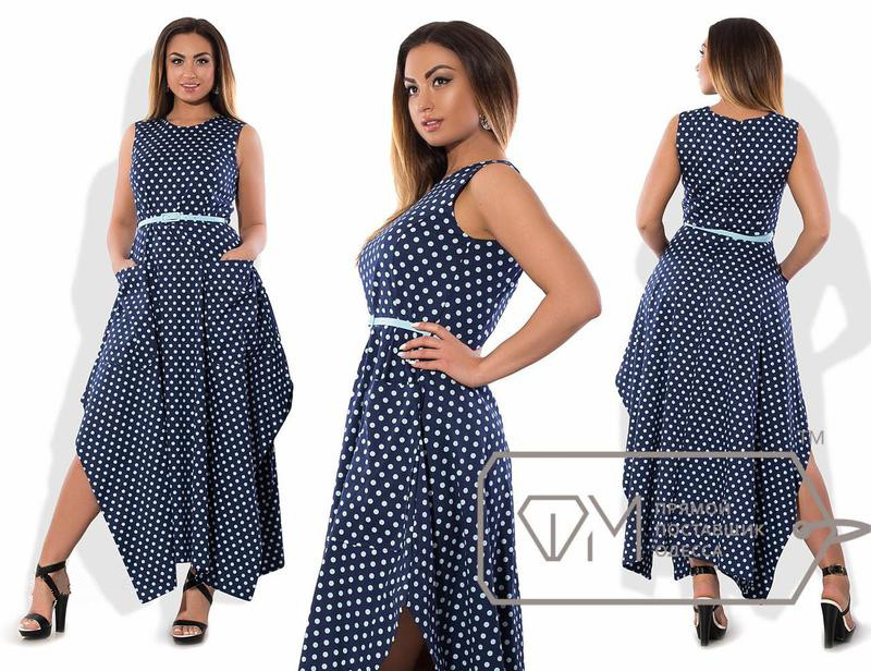 b88285281c8 Купить Коттоновое платье больших размеров в горошек оптом и в ...
