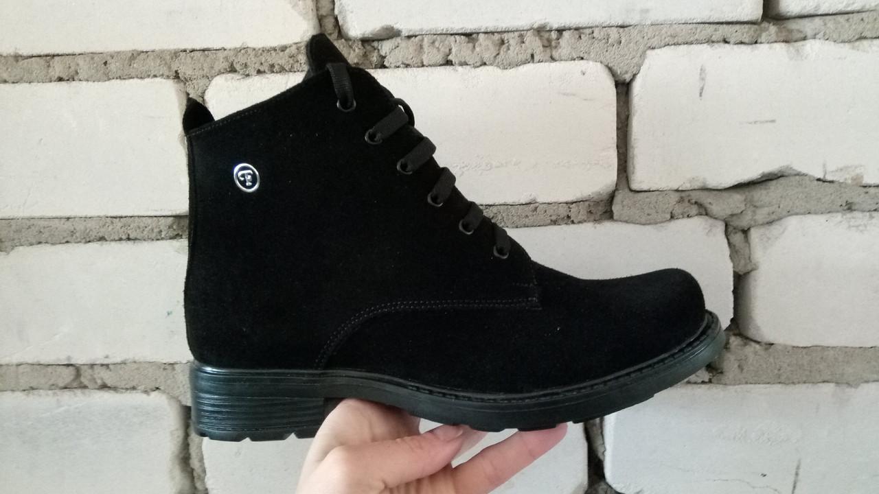 Женские демисезонные ботинки натуральная замша плоская подошва черные