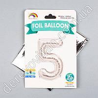 "Воздушный/гелиевый шар-цифра ""5"", серебро, 58×70 см"