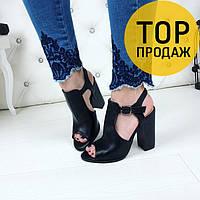 Женские босоножки на каблуке 11 см, черного цвета / босоножки женские кожаные, на ремешке, стильные
