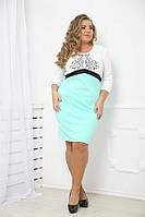 Платье Бренда мята большого размера 48-94 батал