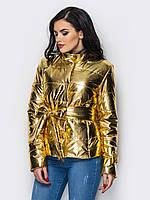 Романтическая женская демисезонная куртка с поясом бантом золото 90282/1