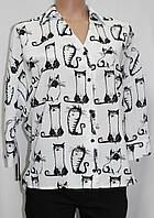 Блуза белая, черно-белые коты, р.36, Турция, фото 1