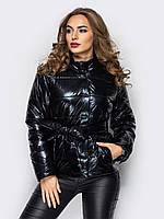 Романтическая женская демисезонная куртка с поясом бантом черный 90282/2