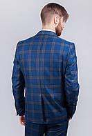 Пиджак мужской стильный в клетку №280F005 (Серо-синий)