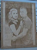 Выжигание портрета на дереве по фотографии на заказ подарок на деревянную свадьбу, фото 1