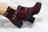 Ботинки замшевые бордовые с ремешками на каблуке демисезонные
