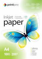 Фотобумага А4 глянцевая PrintPro 200 гр плотность 100 листов