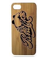 """Дерев'яний чохол  Wooden Cases для Apple iPhone 8 plus з лазерним гравіюванням """"Panda"""" Бамбук"""