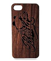 """Дерев'яний чохол  Wooden Cases для Apple iPhone 8 plus з лазерним гравіюванням """"Panda"""" Червоне Дерево"""