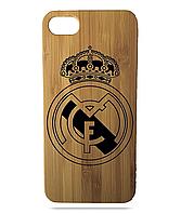 """Дерев'яний чохол  Wooden Cases для Apple iPhone 8 plus з лазерним гравіюванням """"FC Real Madrid"""" Бамбук"""