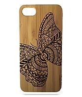 """Дерев'яний чохол  Wooden Cases для Apple iPhone 8 plus з лазерним гравіюванням """"Butterfly"""" Бамбук"""