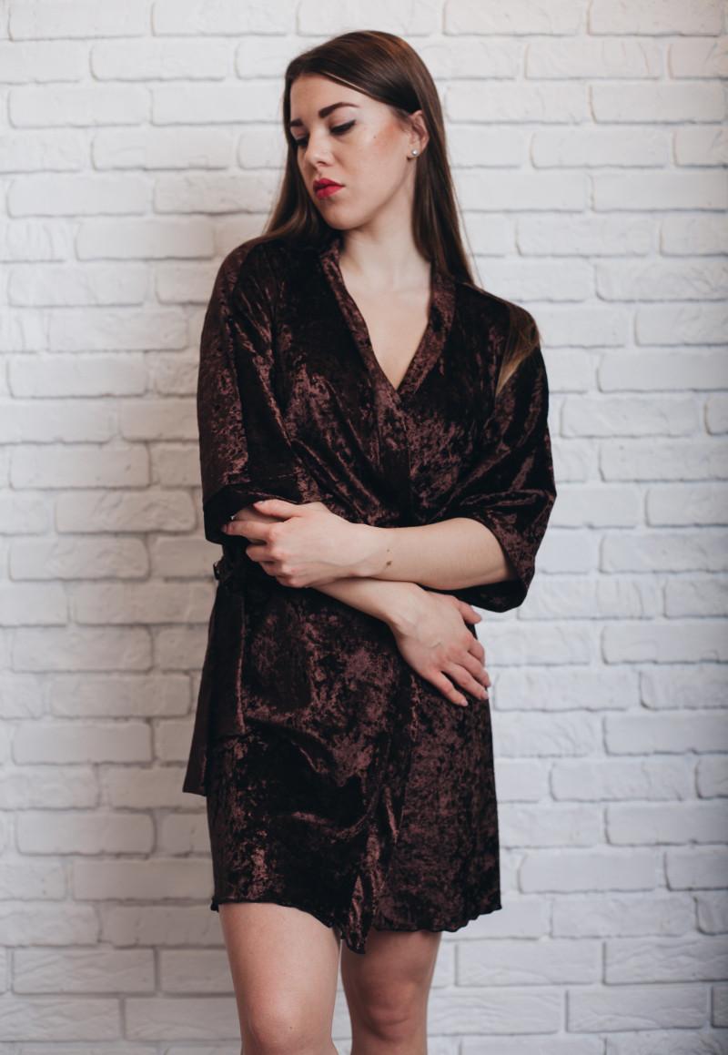 Нежный женский велюровый халатик на запах с поясом, М(42-44),Л(44-46),ХЛ(46-48)