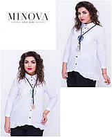 Нарядная рубашка с рюшами и удлиненной спинкой прямой поставщик ТМ Minova (S, M, L, XL, XXL), фото 1