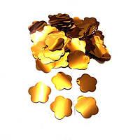 Конфетти цветочки золотые. Вес:50гр.