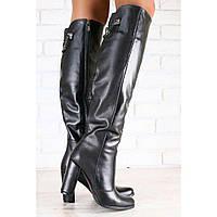 Демисезонные женские сапоги-ботфорты, кожаные, на байке, черные, на высоком устойчивом каблуке