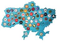 Карта Украины CAPSBOARD UKRAINE с подставками 52 отверстия разных цветов