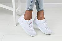 Женские кроссовки, белые, из натуральной кожи