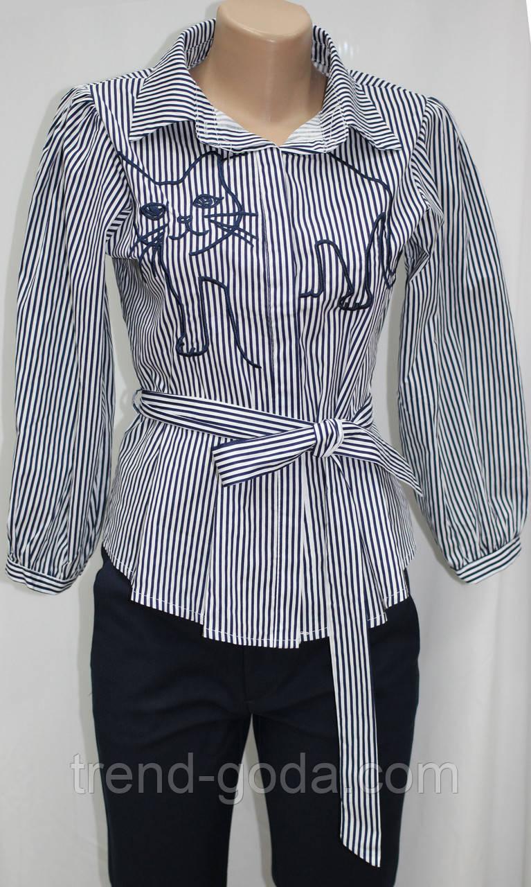 Рубашка блузка женская, удлиненная в бело-синюю полоску, вышивка кот,Ткань: рубашечный коттон, Турция