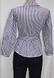 Рубашка блузка женская, удлиненная в бело-синюю полоску, вышивка кот,Ткань: рубашечный коттон, Турция, фото 3