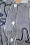 Рубашка блузка женская, удлиненная в бело-синюю полоску, вышивка кот,Ткань: рубашечный коттон, Турция, фото 5