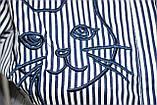 Рубашка блузка женская, удлиненная в бело-синюю полоску, вышивка кот,Ткань: рубашечный коттон, Турция, фото 6