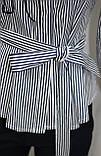 Рубашка блузка женская, удлиненная в бело-синюю полоску, вышивка кот,Ткань: рубашечный коттон, Турция, фото 7