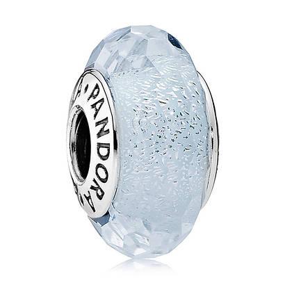 Переливающееся белое ограненное стекло с шиммером в стиле Pandora