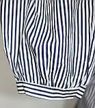 Рубашка блузка женская, удлиненная в бело-синюю полоску, вышивка кот,Ткань: рубашечный коттон, Турция, фото 8