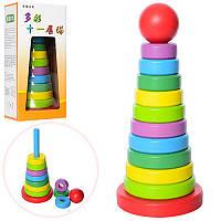 Деревянная игра для малышей Пирамидка Конструктор 25 см, кольца 11 шт, MD 1021