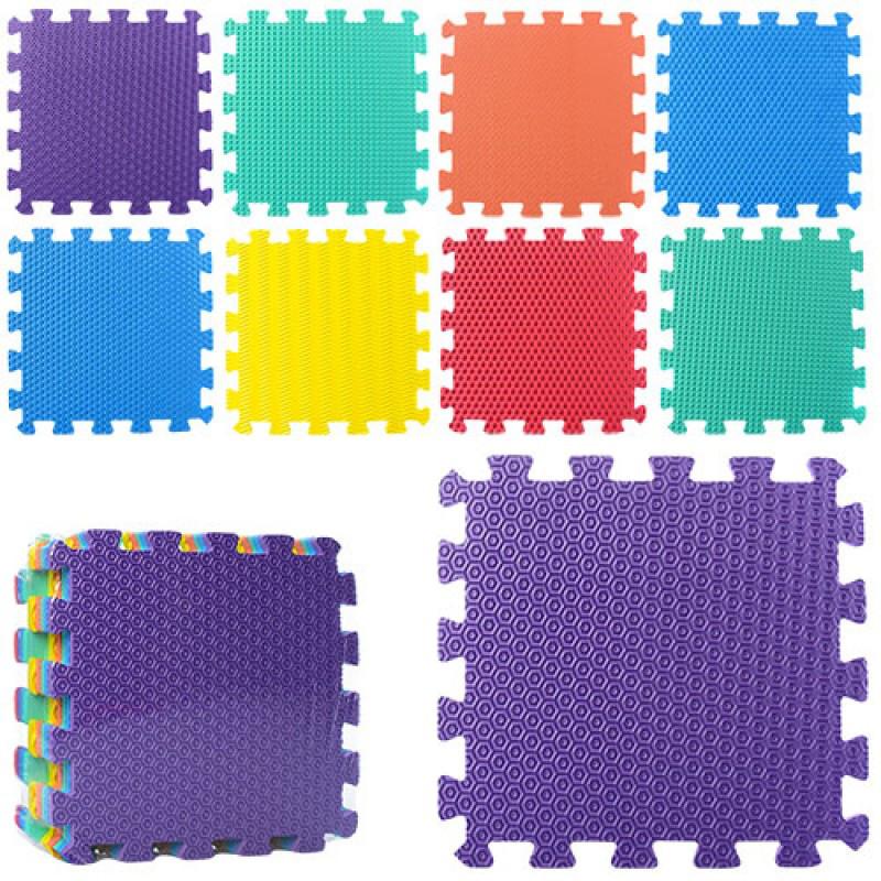 Детский Коврик Мозаика Пазл для пола Массажный EVA M 2630, 9 деталей, 6 текстур