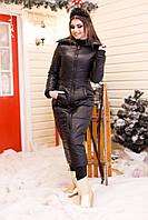 """Стеганое женское пальто на синтепоне """"SLIM"""" с карманами (большие размеры)"""